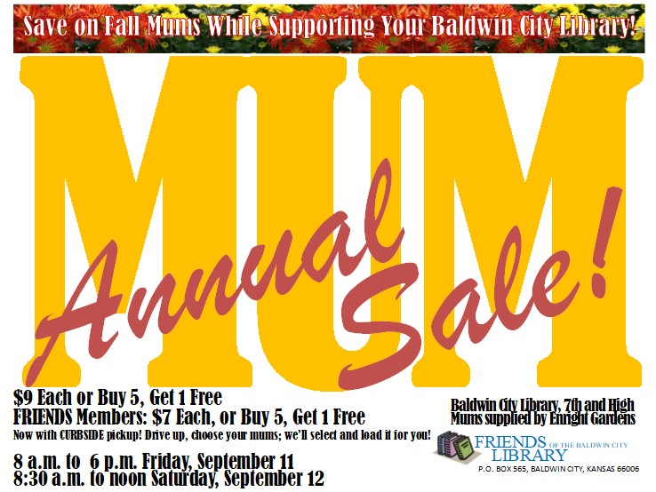 Friends of the Baldwin City Library Mum Sale @ Your Baldwin City Library