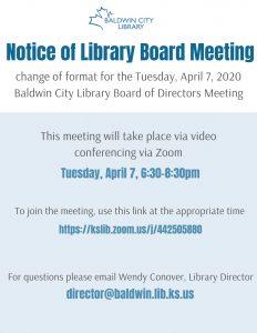 Baldwin City Library Board of Trustees Meeting @ via Zoom